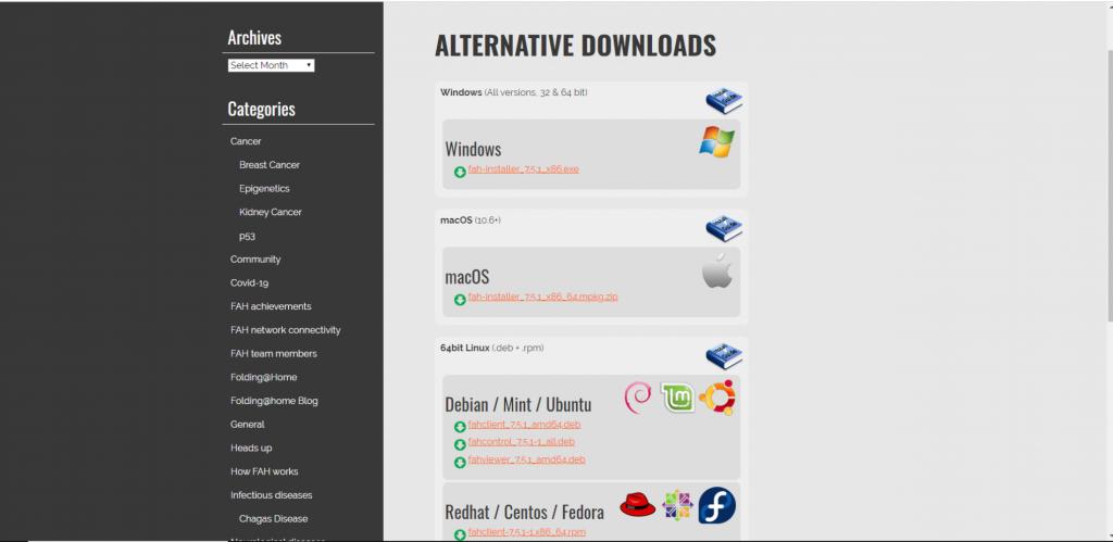 こちらがダウンロード画面。OSは Windows, Mac, Linuxと一通り対応している様子です。